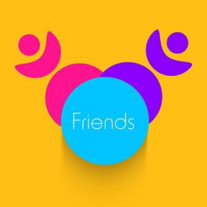 Happy Friendship Day Background With Colorful Silhouette Of Happy Girls On Yellow Background.
