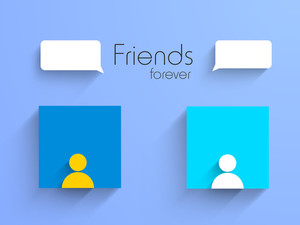 Happy Friendship Day Background With Colorful Silhouette Of Peoples And Speech Bubble On Purple Background.