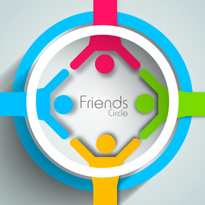 Happy Friendship Day Background With Colorful Silhouette Of Peoples On Blue And White Circle On Green Background.
