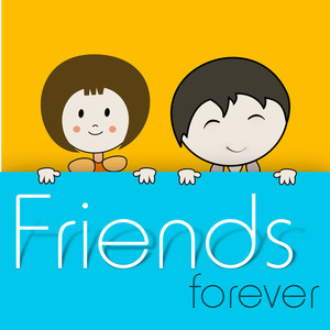 Happy Friendship Day Background With Cute Friends Holding Banner With Text Friends Forever On Yellow Background.