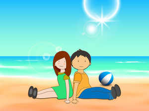Happy Friendship Day Background With Cute Friends Sitting At Seaside.