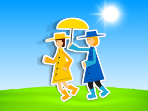 Happy Friendship Day Background With Cute Girls Under The Umbrella In Sunny Day Background.