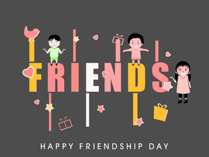 Happy Friendship Day Background With Cute Little Boys And Girls Illustration And Text Friends.