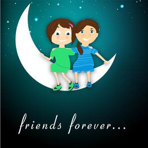 Happy Friendship Day Background With Cute Little Firends Sitting On A Moon.