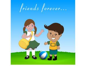 Happy Friendship Day Background With Cute Little Friends Enjoying On Nature Background.