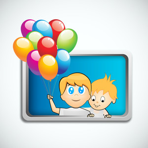 Happy Friendship Day Background With Cute Little Friends In A Frame Holding Balloons On Grey Background.
