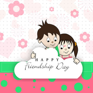 Happy Friendship Day Background With Cute Little Friends On Floral Decorated Background.