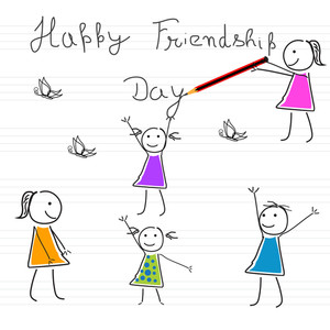 Happy Friendship Day Background With Cute Little Friends On Notebook Page.
