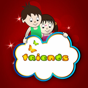 Happy Friendship Day Background With Cute Little Friendsm Can Be Use As Banner