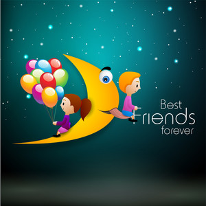 Happy Friendship Day Background With Cute Little Kids With Moon In The Night.