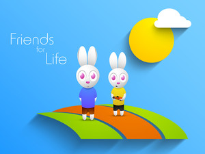 Happy Friendship Day Background With Cute Rabbits On Blue Background.