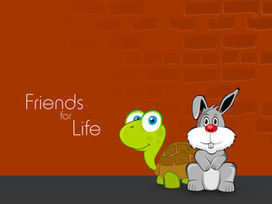 Happy Friendship Day Background With Cute Tortoise And Rabbit On Against Orange Wall.