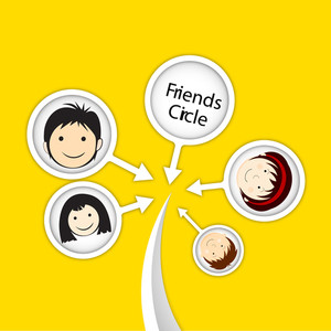 Happy Friendship Day Background With Friends Circle On Yellow Background.
