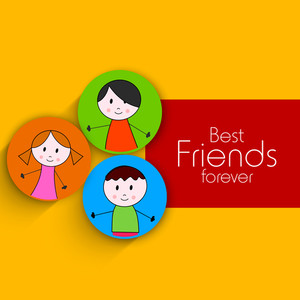Happy Friendship Day Background With Friends Stickers With Photos On Yellow And Red Background.