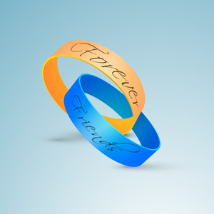 Happy Friendship Day Background With Friendship Bands On Blue Background.