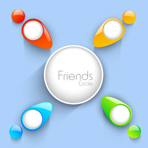 Happy Friendship Day Background With Glossy Silhouette Of Peoples On Blue Background.