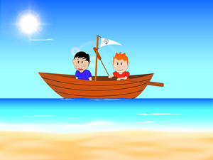Happy Friendship Day Background With Happy Friends In Boat At Seaside.