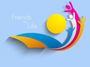 Happy Friendship Day Background With Happy Friends On Blue And Yellow
