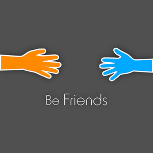 Happy Friendship Day Background With Human Hands On Grey Background.