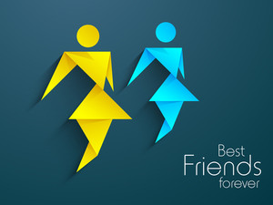 Happy Friendship Day Background With Illustration Of A Girls On Blue Background.