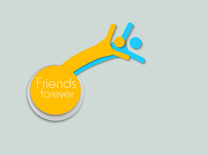 Happy Friendship Day Background With Illustration Of Cute Little Friends On Grey Background.