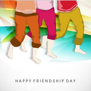 Happy Friendship Day Background With Illustration Of Human Legs On Colorful Abstract Background.