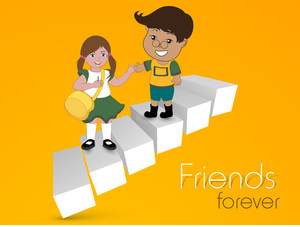 Happy Friendship Day Background With Illustration Of Smiling Frings On Stairs On Yellow Background.