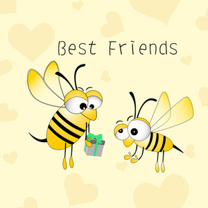 Happy Friendship Day Background With Little Bee Giving Gifts To Each Other.