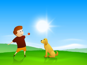 Happy Friendship Day Background With  Little Boy Playing With Puppy Dog