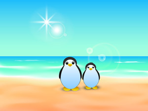 Happy Friendship Day Background With Penguine At Seaside.
