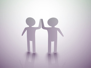 Happy Friendship Day Background With Silhouette Of Frineds Joining Hands On Abstract Background.