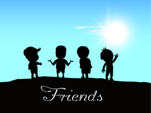 Happy Friendship Day Background With Silhouette Of Kids On Blue Background.