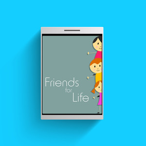 Happy Friendship Day Background With Smart Phone Having Frineds Wallpaper.