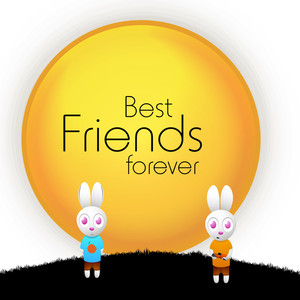 Happy Friendship Day Background With Text Best Friends Forever And Two Little Bunny's