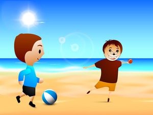 Happy Friendship Day Background With Two Boys Playing At Seaside.