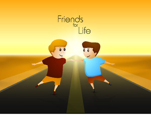 Happy Friendship Day Background With Two Dancing Friends