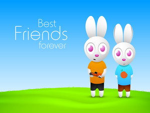 Happy Friendship Day Background With Two Little Bunny