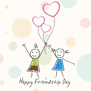 Happy Friendship Day Background With Two Little Girls Holding Heart Shaped Balloon