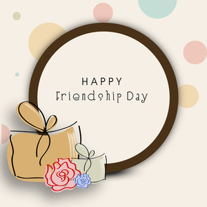 Happy Friendship Day Concept With Bags And Frame On Abstract Background.