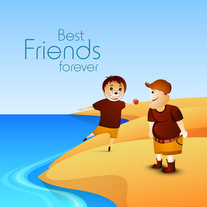 Happy Friendship Day Concept With Boys Playing On Seaside And Text Best Friends Forever