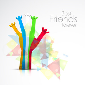 Happy Friendship Day Concept With Colorful Human Hand In Joy.