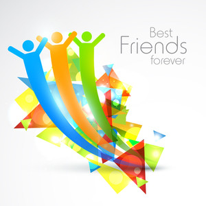 Happy Friendship Day Concept With Colorful Silhouette Of People In Happy Moment.
