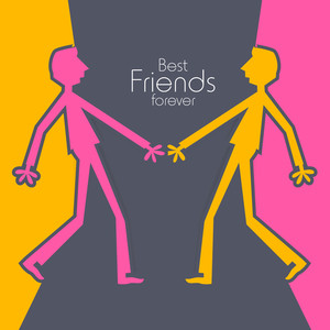 Happy Friendship Day Concept With Colorful Silhouette Of People On Abstract Background.