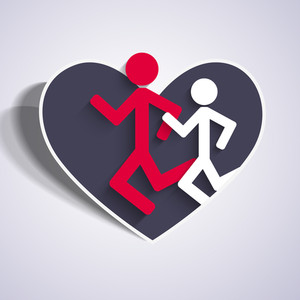 Happy Friendship Day Concept With Colorful Silhouette Of People Running In A Heart Shape Sticker On Grey Background.