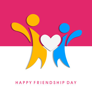 Happy Friendship Day Concept With Colorful Silhouette Of Peoples On Pink And Grey Background.