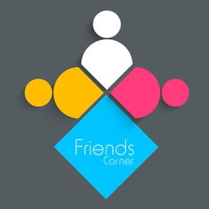 Happy Friendship Day Concept With Colorful Silhouette Of Peoples