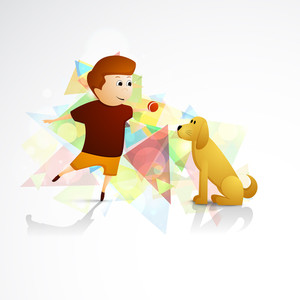 Happy Friendship Day Concept With Cute Boy And Dog On Colorful Abstract Background.