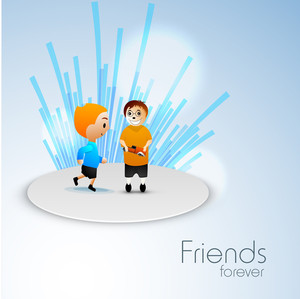 Happy Friendship Day Concept With Cute Friends On Blue Background.