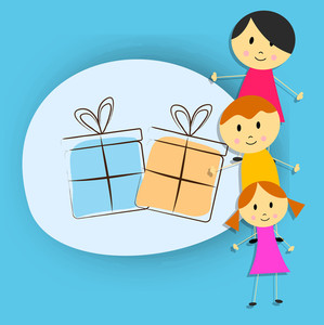 Happy Friendship Day Concept With Cute Gift Gift Boxes  On Blue Background.