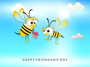 Happy Friendship Day Concept With Cute Honey Bee's Holding Gifts On Blue Background.